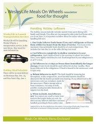 a WesleyLife Meals On Wheels newsletter Handling Holiday Leftovers