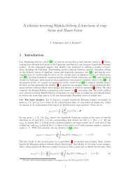 A relation involving Rankin-Selberg L-functions of cusp forms and ...