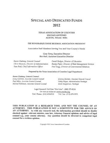Special and Dedicated Funds - Texas Association of Counties