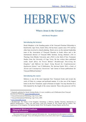 Hebrews - Vineyard Biblical Institute
