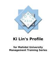 Ki Lin's Profile - Mahidol University