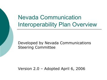 Nevada Communication Interoperability Plan - Emergency ...