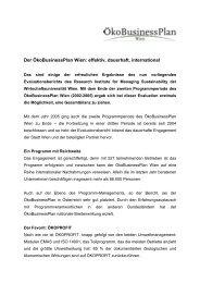 Der ÖkoBusinessPlan Wien: effektiv, dauerhaft, international