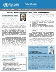 WHO Patient Safety Newsletter – Oct 2010