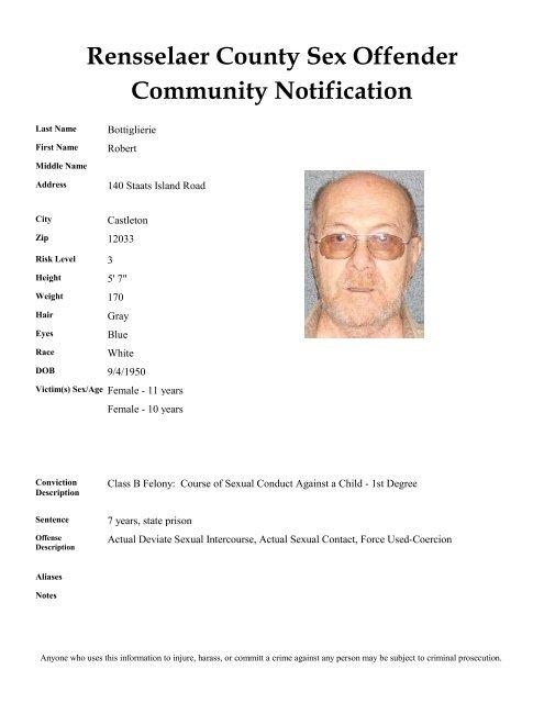 Rensselaer County Sex Offender Community Notification