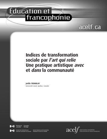 Indices de transformation sociale par l'art qui relie Une ... - acelf