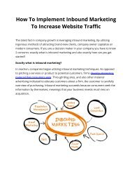 How To Implement Inbound Marketing To Increase Website Traffic
