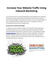 Increase Your Website Traffic Using Inbound Marketing