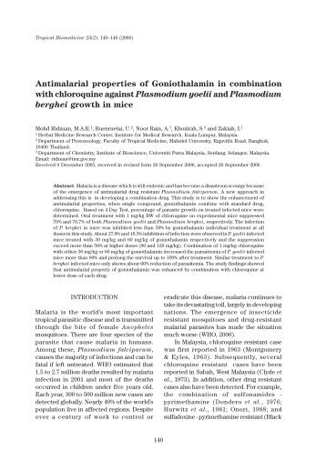 140 - 146 Antimalarial properties of Goniothalamin in ... - MSPTM