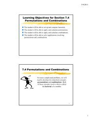 Learning Objectives for Section 7.4 Permutations and Combinations ...