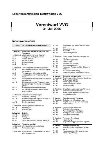 Vorentwurf VVG - EFD