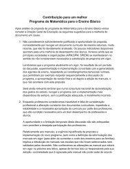 Contribuição para um melhor Programa de Matemática para o ...