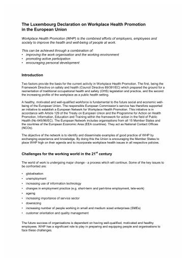 The Luxembourg Declaration on Workplace Health Promotion in the ...