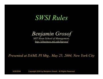 SWSI Use of Rules - DAMl