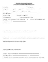Event Funding Request Form - North Central Missouri College