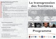 La transgression des frontières Programme - Droits et Perspectives ...