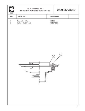 Parts Order Guide for Floor Drains - Jay R. Smith MFG Co.
