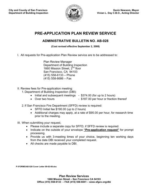 pre-application plan review service - Department of Building