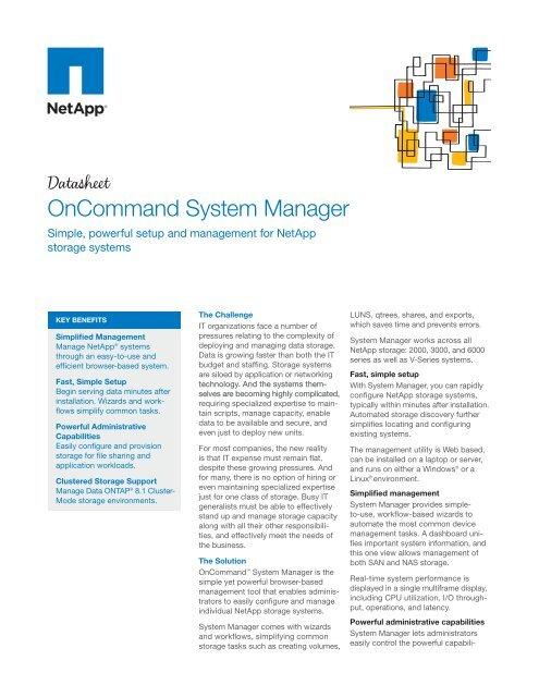 NetApp Datasheet - OnCommand System Manager - Zift Solutions