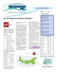go! PEI Impacts Health of Islanders - Recreation PEI
