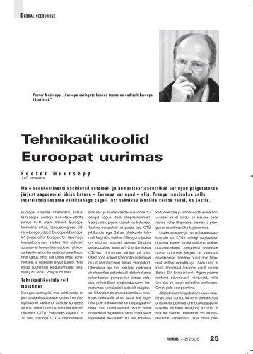 Tehnikaülikoolid Euroopat uurimas (Peeter Müürsepp) - Haridus