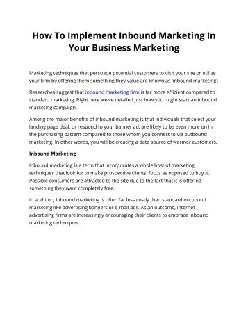 How To Implement Inbound Marketing In Your Business Marketing