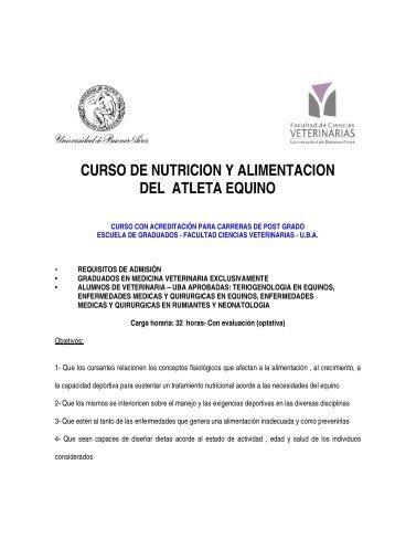 curso de nutricion y alimentacion del atleta equino - Facultad de ...