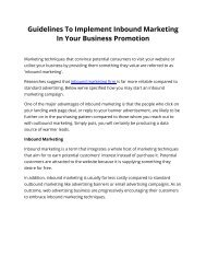 Guidelines To Implement Inbound Marketing In Your Business Promotion