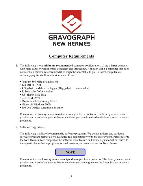 Computer Requirements - Gravograph-New Hermes