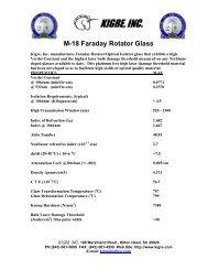 M-18 Faraday Rotator Glass - Kigre, Inc.
