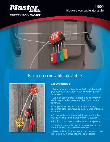 Cable de bloqueo ajustable - S806 - Master Lock Safety