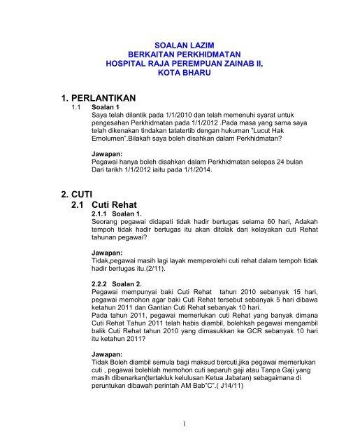 Soalan Lazim Unit Perkhidmatan Hospital Raja Perempuan Zainab Ii