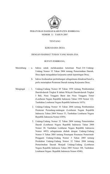 Kerjasama Desa - Pemerintah Kabupaten Jembrana