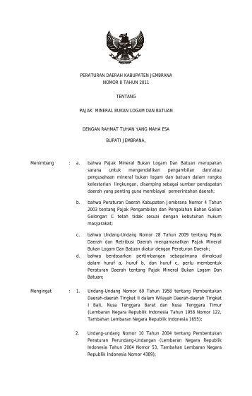 Pajak Mineral Bukan Logam Dan Batuan - Pemerintah Kabupaten ...