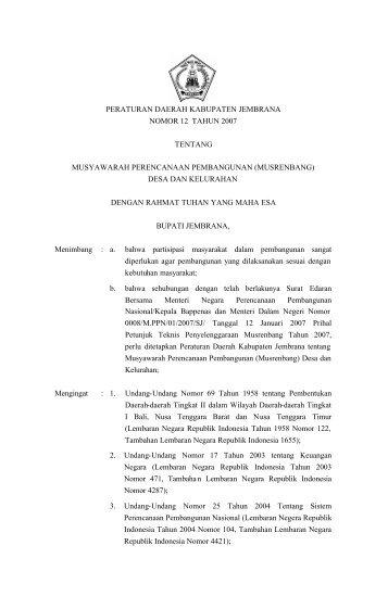 (musrenbang) desa dan kelurahan - Pemerintah Kabupaten Jembrana