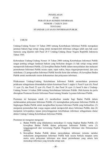 Penjelasan Peraturan Komisi Informasi tentang Standar Layanan ...