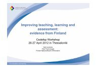 Improving teaching, learning and assessment: evidence from Finland