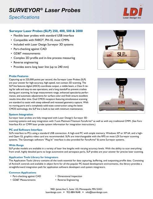 SURVEYOR® Laser Probes Specifications - Laser Design   GKS