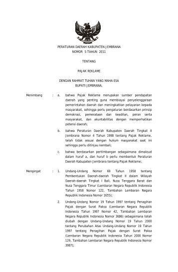 pajak reklame - Pemerintah Kabupaten Jembrana
