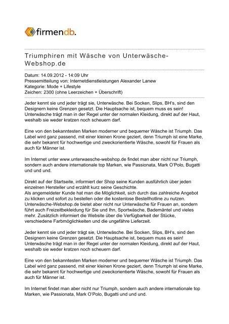 buy popular b9ce2 e3c4e Triumphiren mit Wäsche von Unterwäsche-Webshop.de - Firmendb