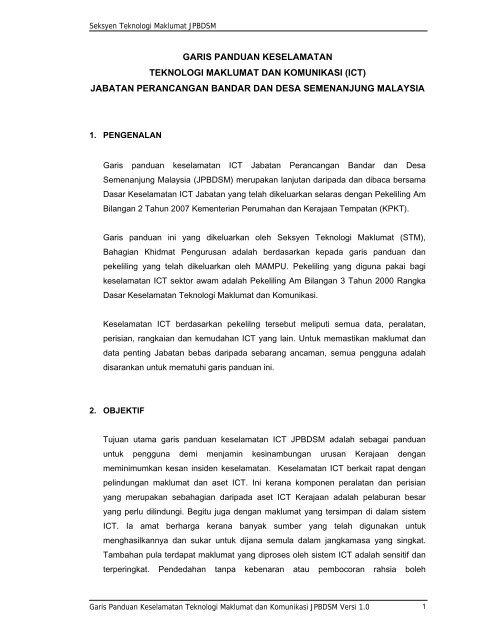 Garis Panduan Keselamatan Ict Jabatan Perancangan Jpbd