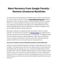 Want Recovery From Google Penalty : Remove Unnatural Backlinks