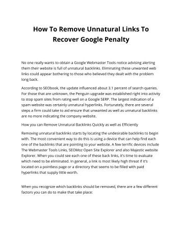 How To Remove Unnatural Links To Recover Google Penalty