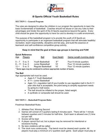i9 Sports Official Youth Basketball Rules