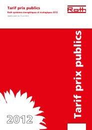 Tarif prix publics - Roth
