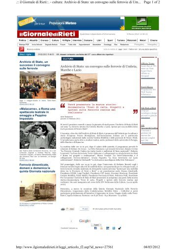 Page 1 of 2 .:: il Giornale di Rieti::. - cultura: Archivio di Stato: un ...