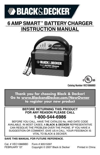 6 Amp Smarta Battery Charger Instruction Manual Black Decker