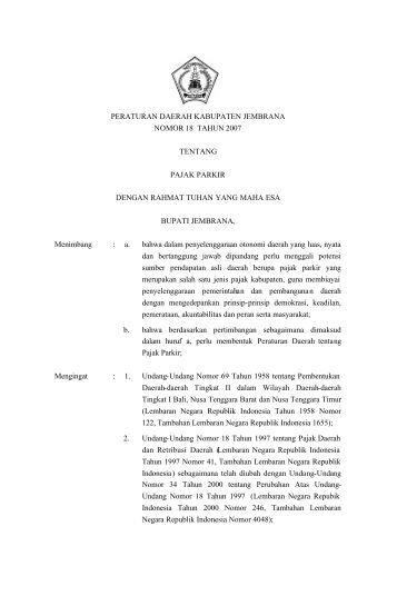 Pajak Parkir - Pemerintah Kabupaten Jembrana