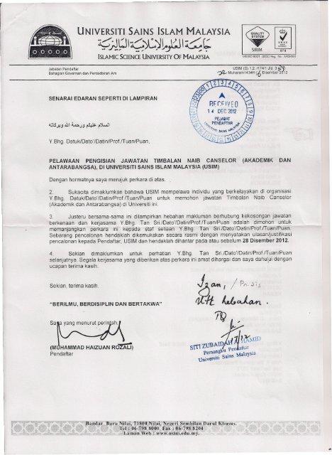 Akademik Antarabangsa Di Universiti Sains Islam Malaysia Usim