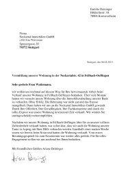 Bewertung Immobilienmakler Stuttgart - Empfehlungsschreiben von Kunden